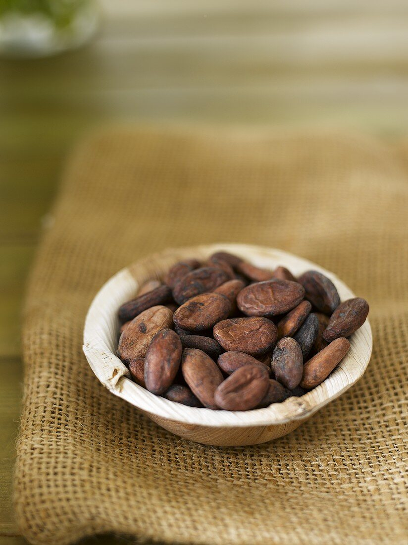 Cocoa beans in a wooden dish on a jute sack