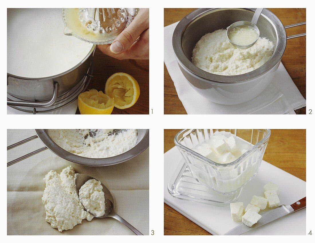 Making paneer (Indian fresh cheese) at home