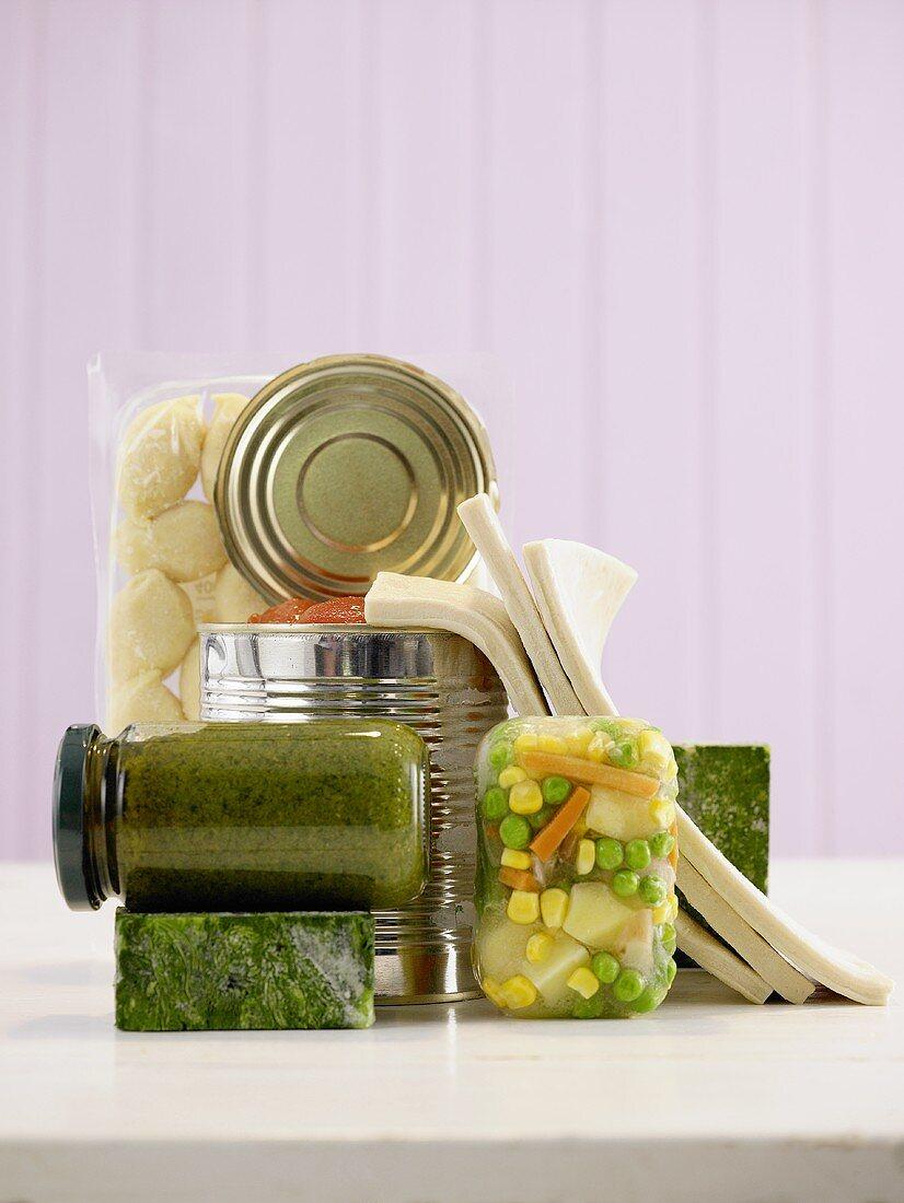Convenience foods: frozen vegetables, pesto, tinned vegetables