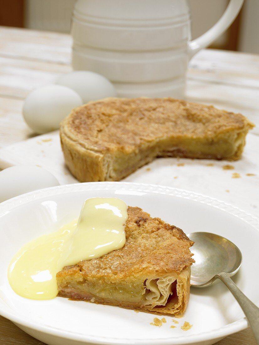 Bakewell pudding (almond pudding, England) with custard