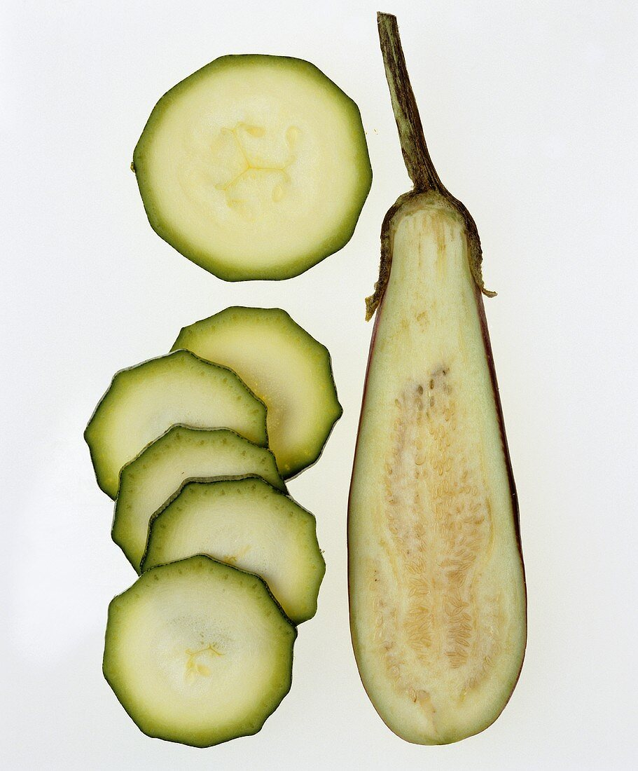 Half an aubergine and slices of courgette