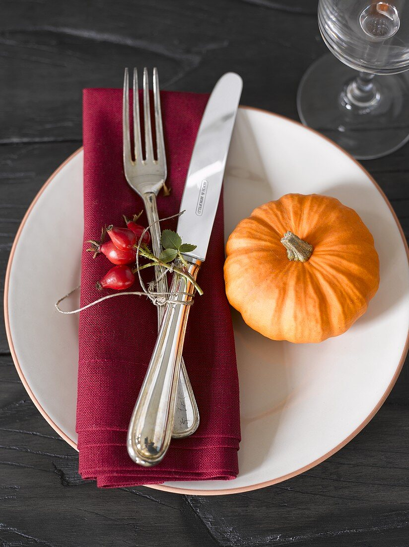 Place-setting with rose hips and pumpkin