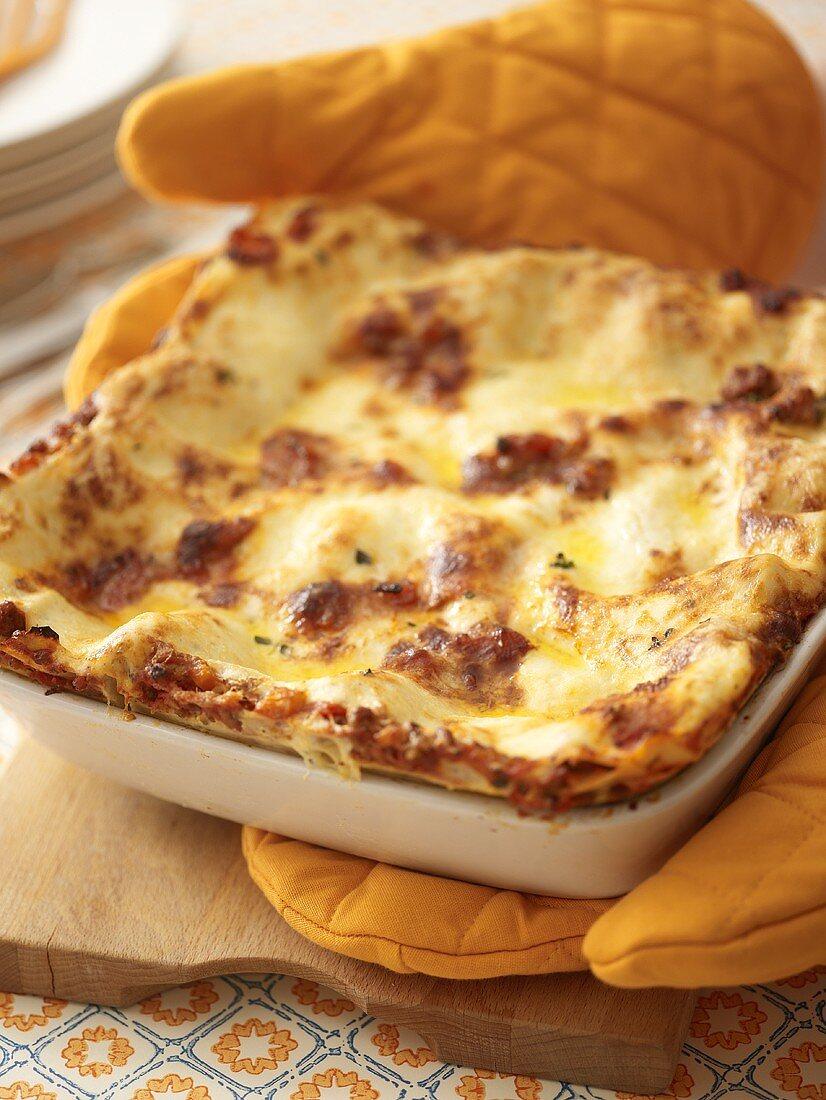 Lasagne in a baking dish