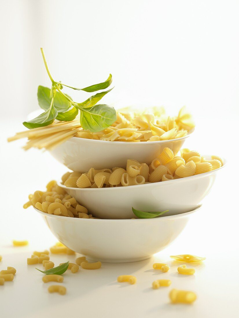 Various types of pasta in three dishes, basil leaves