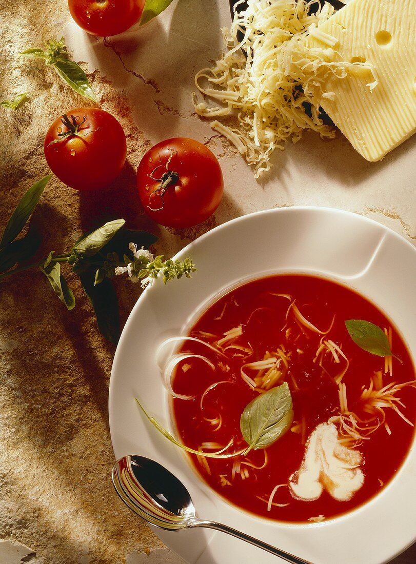 Tomato soup with cheese and cream