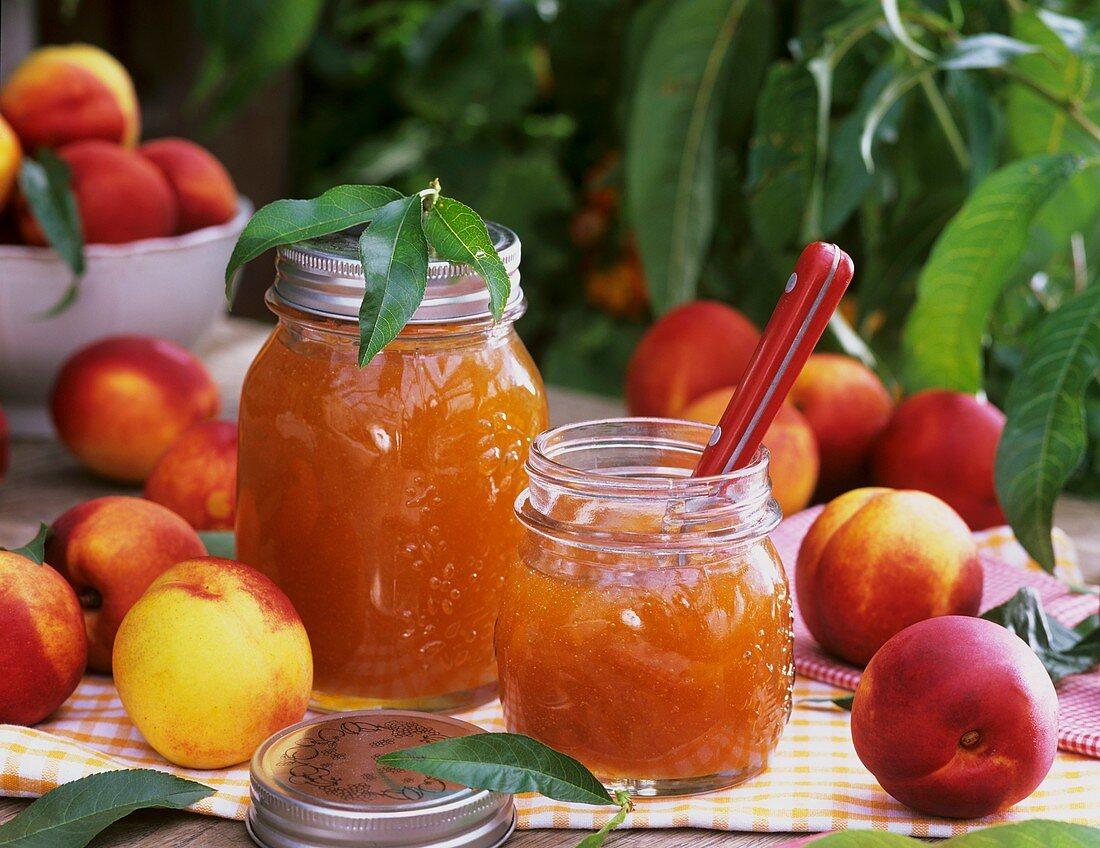 Nectarine jam and fresh nectarines