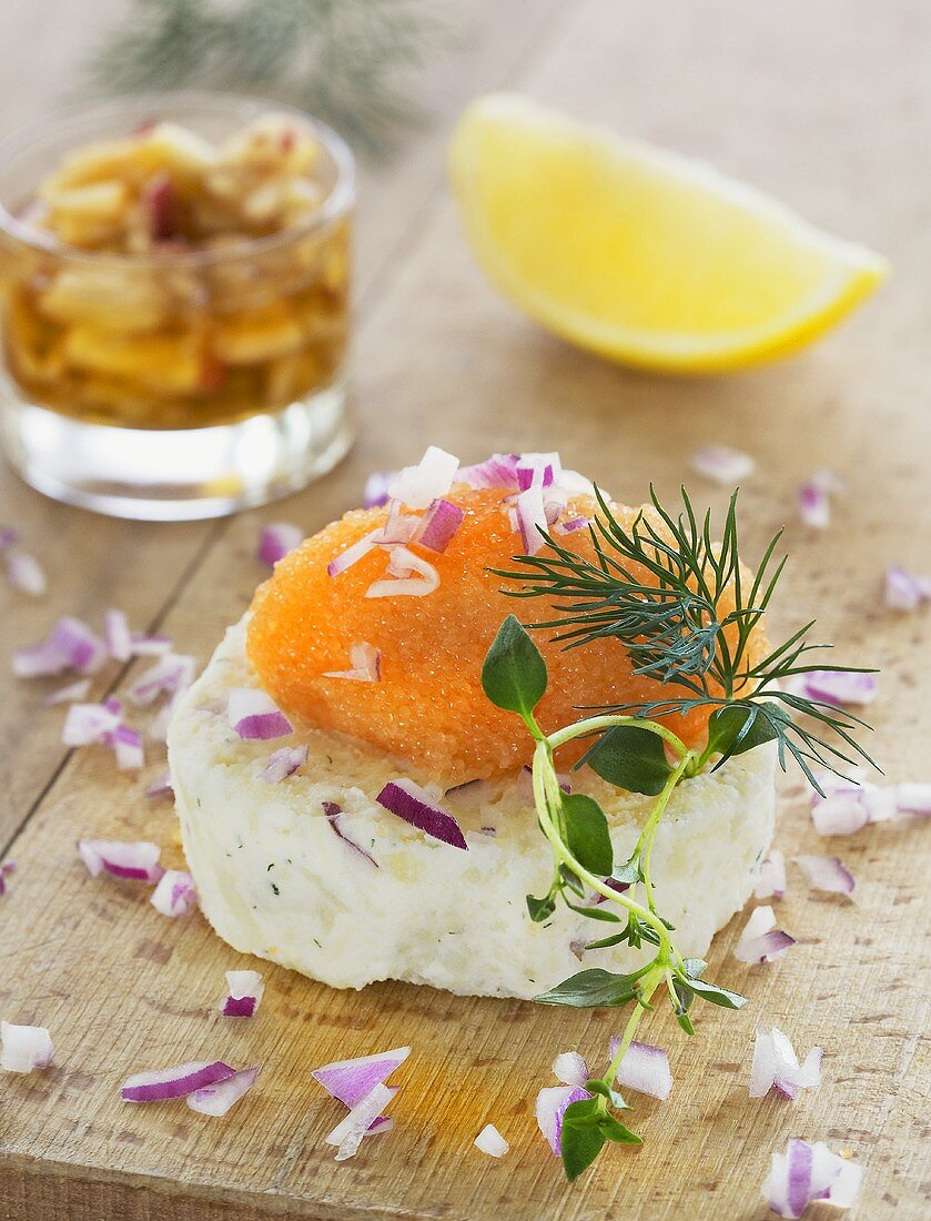 Cheese cake with vendace roe and dill (Sweden)