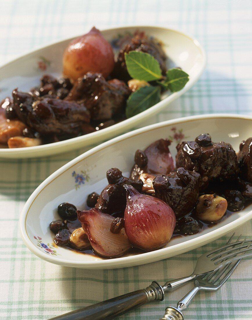 Agnello al Sagrantino (Lamb with onions in red wine, Italy)