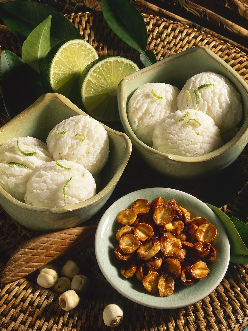 Lime sorbet with candied lotus seeds (Vietnam)