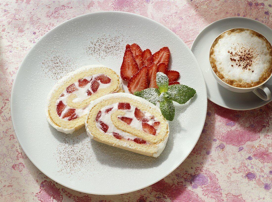Sponge roll with strawberry cream