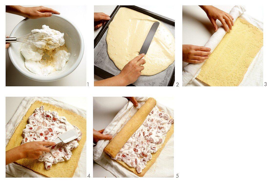 Sponge roulade with strawberry cream