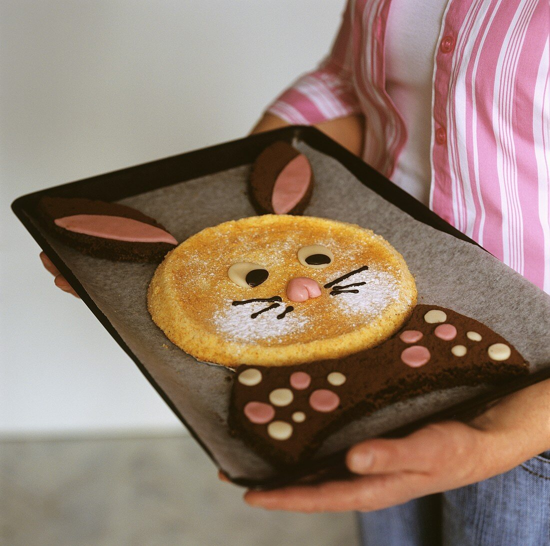Easter Bunny cake on baking tray