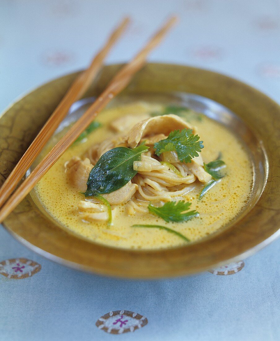 Thai chicken soup with noodles