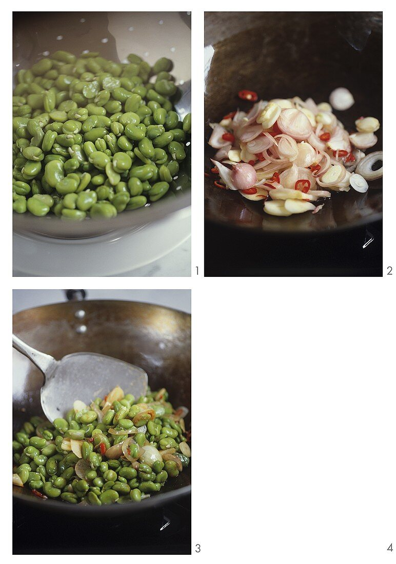Preparing stir-fried broad beans with red curry (Thailand)