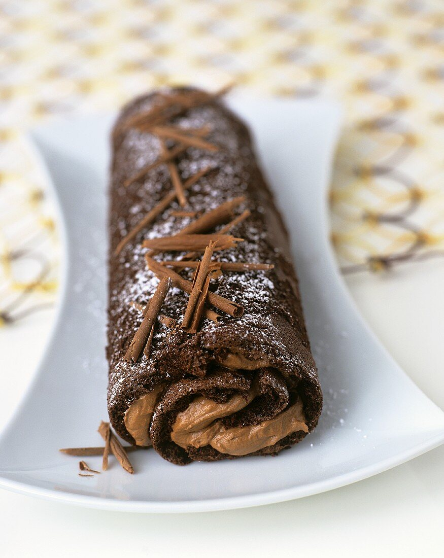 Sponge roll with chocolate fudge filling