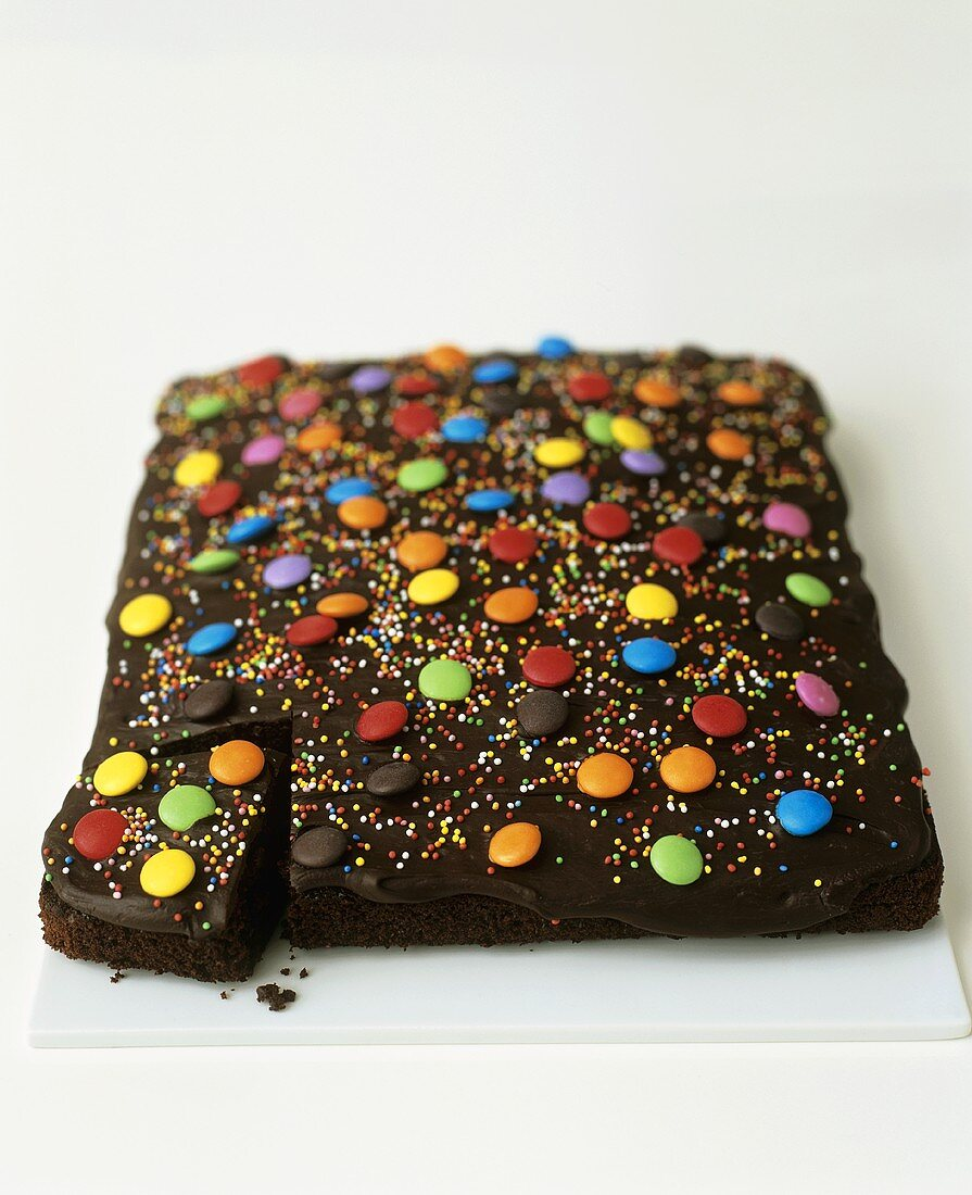 Chocolate cake with coloured chocolate beans