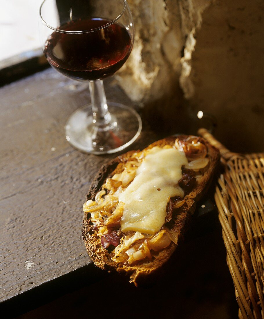 Onion confit and cheese on toast