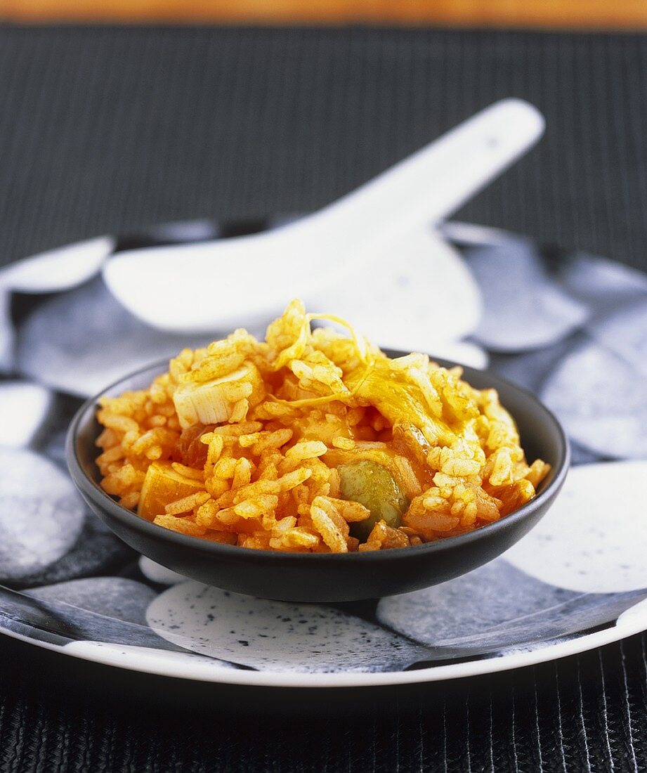 Rice with surimi and edamame