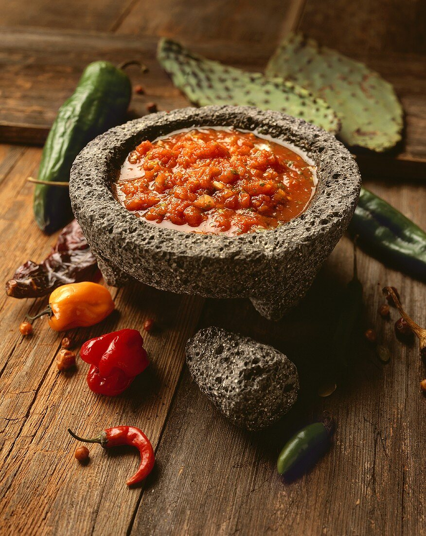 Salsa in a stone mortar