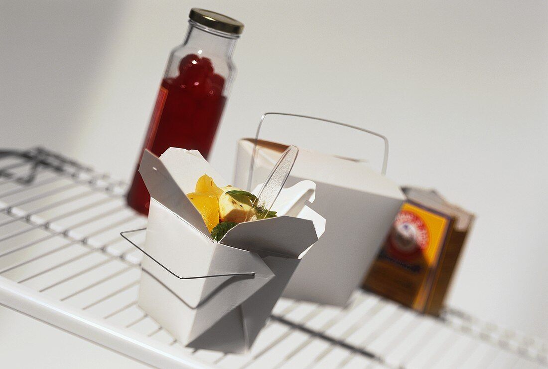 Take-out box in refrigerator