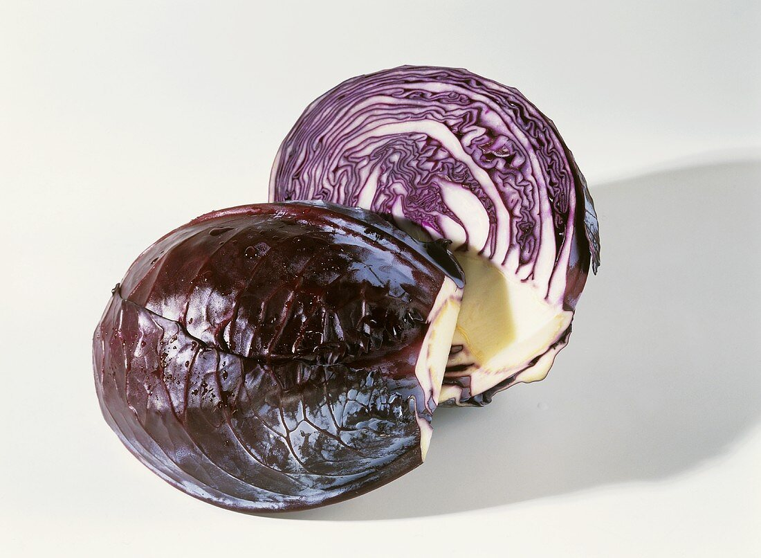 Halved red cabbage