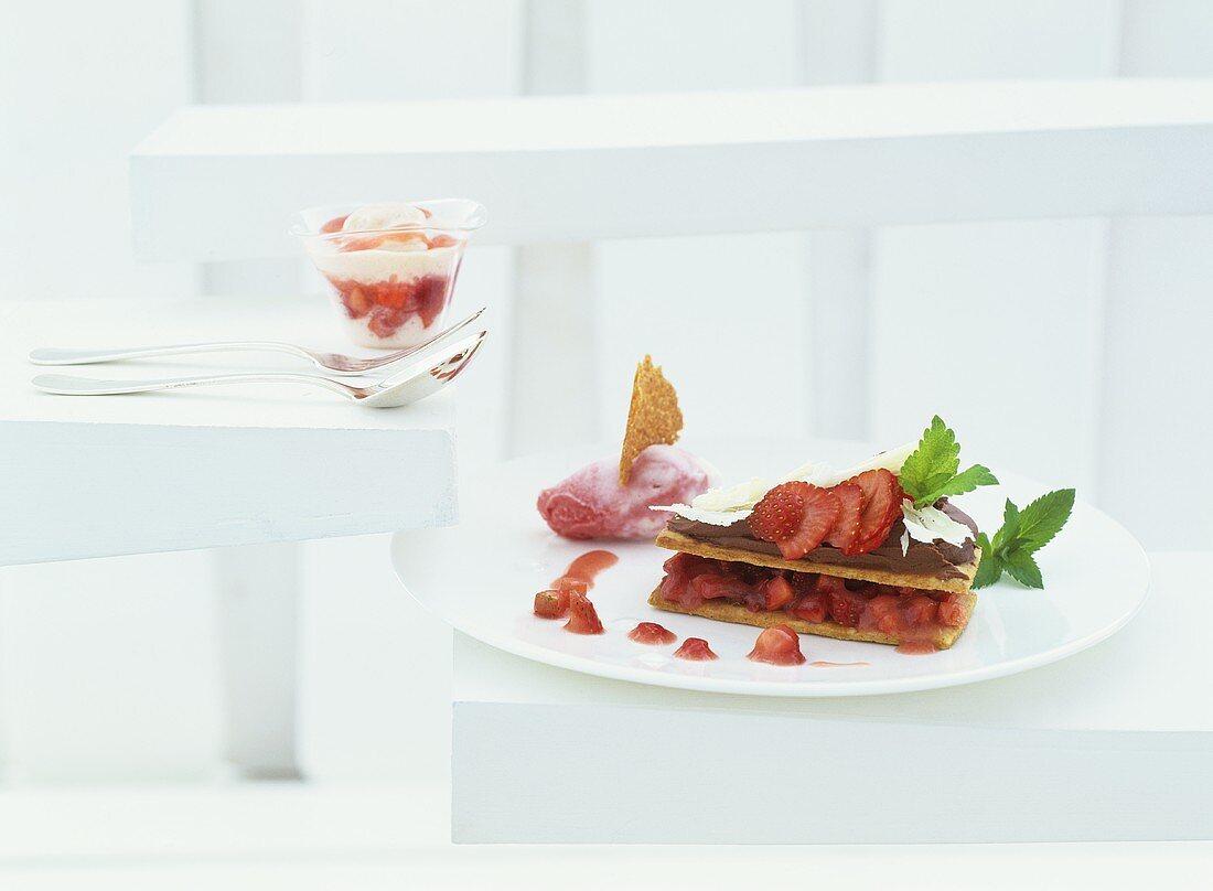 Strawberries on Breton sable with rhubarb sour cream ice cream