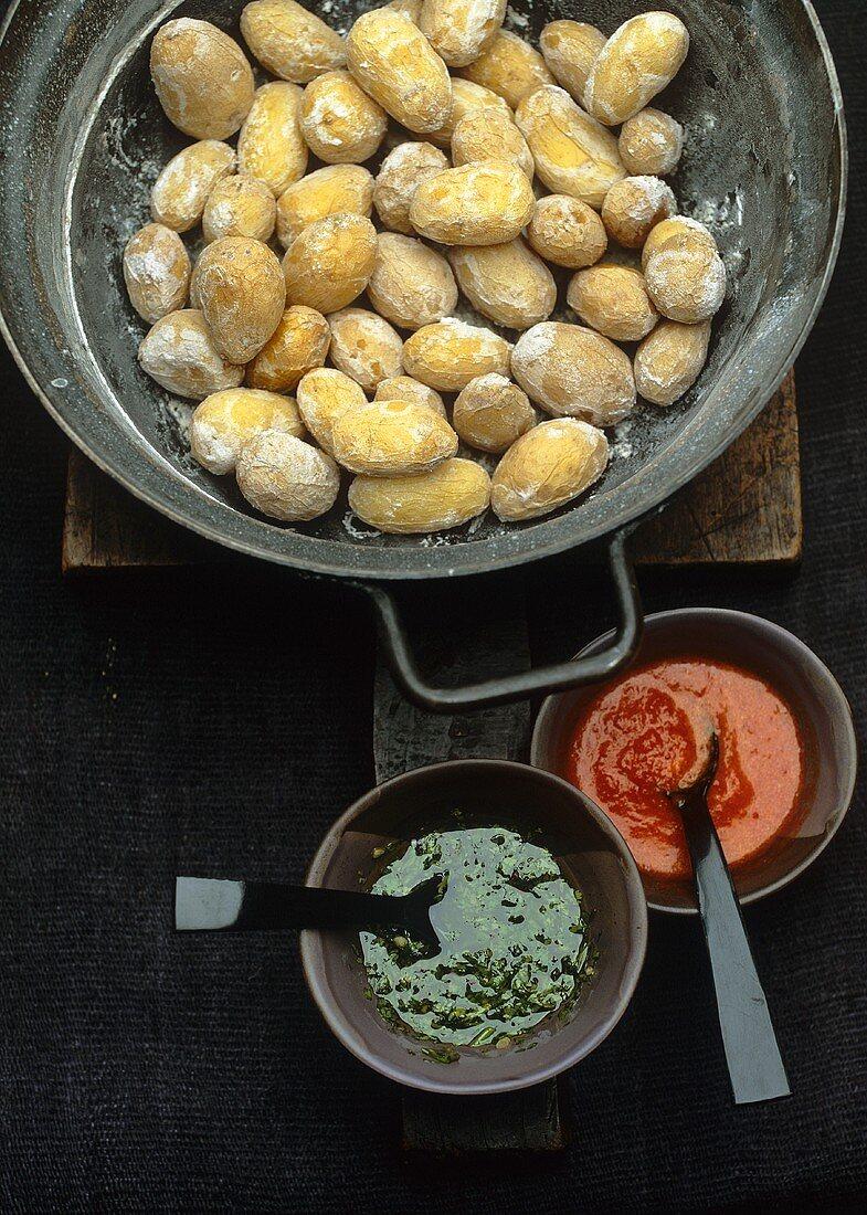 Papas arrugadas with mojo sauces (Canary Islands)