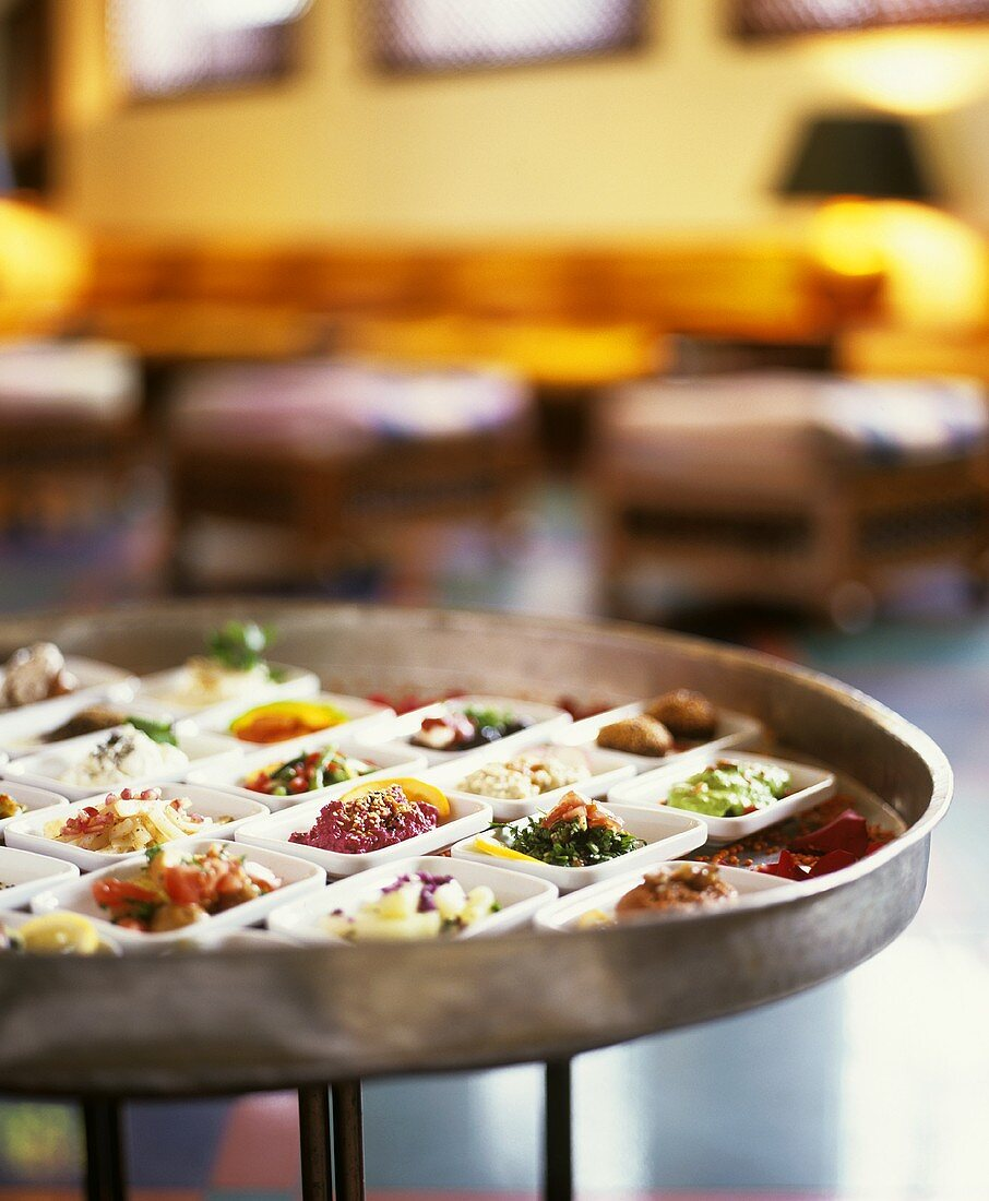 Mazza, a selection of Syrian appetisers