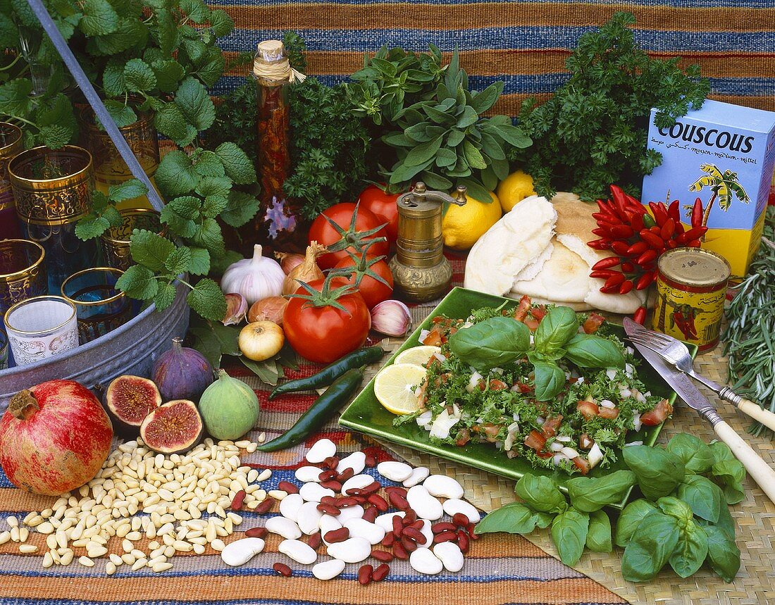 Ingredients from the Arabian kitchen (herbs, vegetables and fruit)