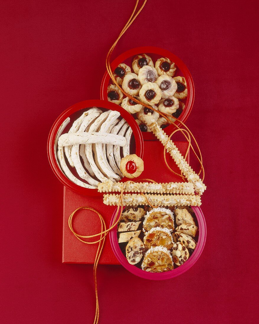Cherry macaroons, ginger sticks, fruit bread and almond macaroons