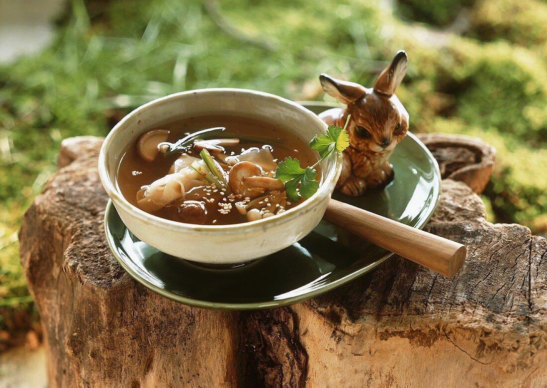 Oriental mushroom soup