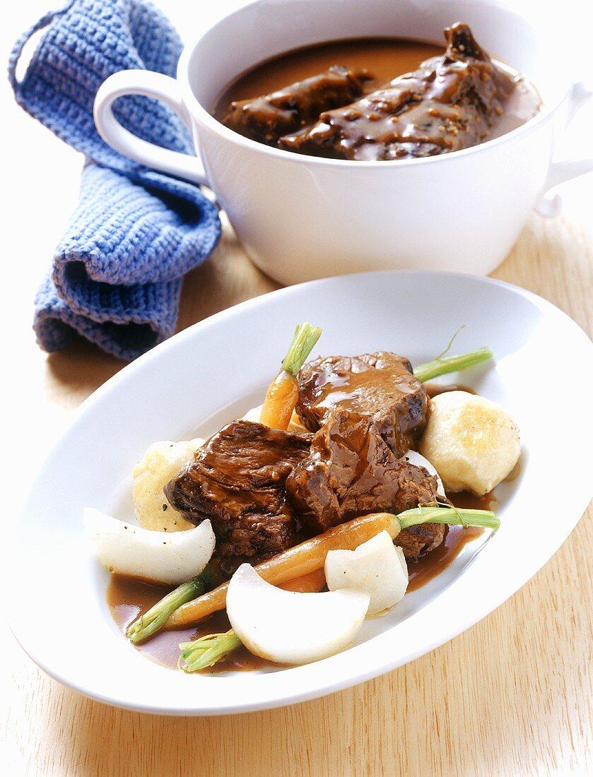 Braised tri-tip steak with root vegetables