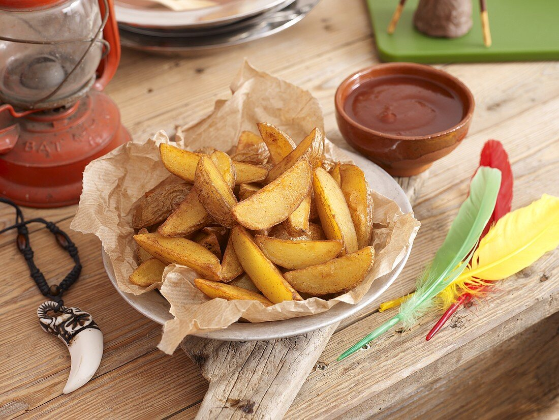 Potato wedges and a dip for a party