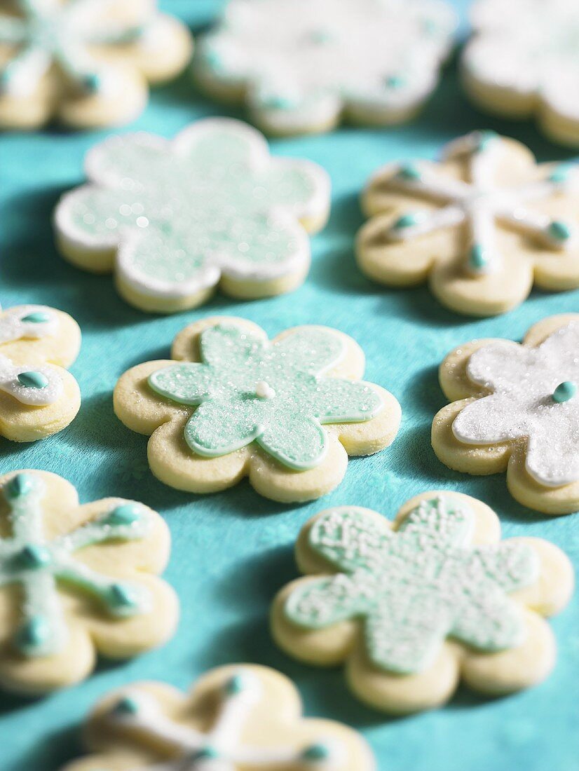 Flower-shaped sugared biscuits