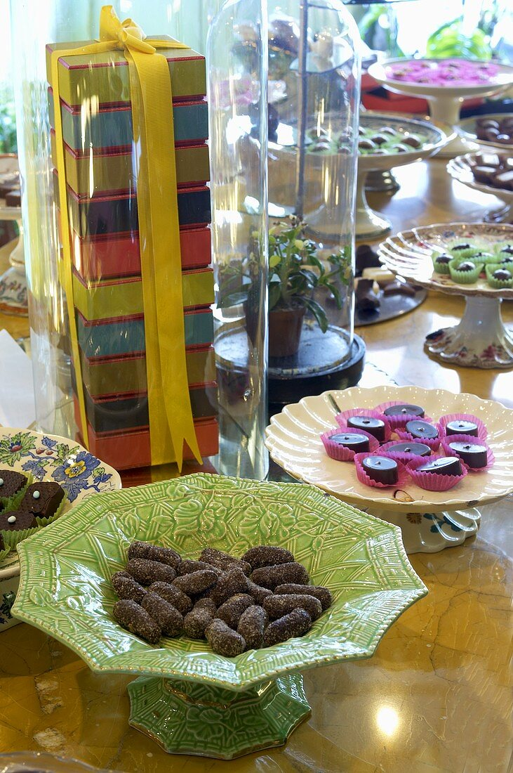 Pralines displayed at the Cocomaya chocolaterie, London