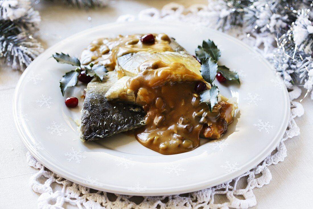 Hering in mushroom sauce (Polish Christmas dish)