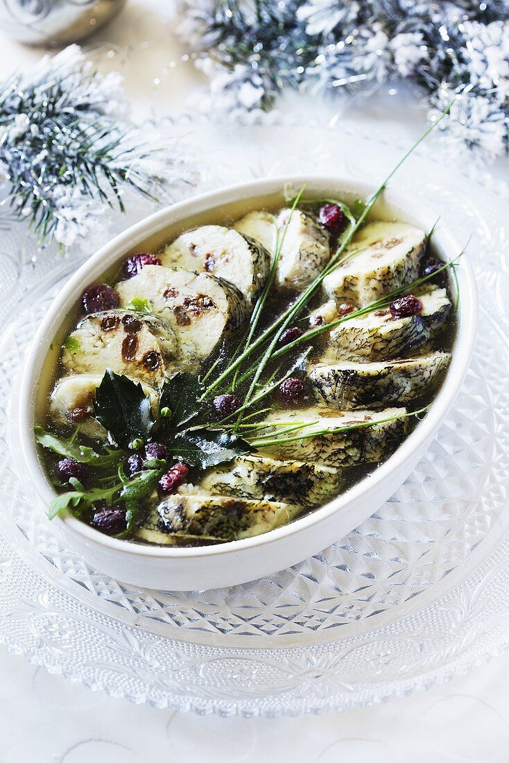 Hake in jelly for Christmas