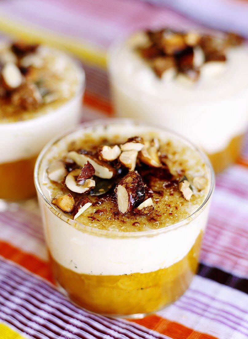 Orange dessert with vanilla cream