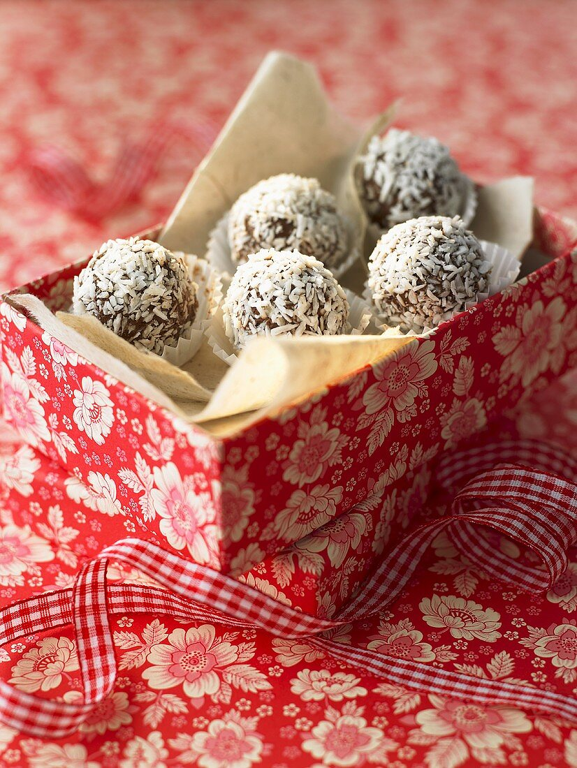 Coconut rum truffles to give as a gift