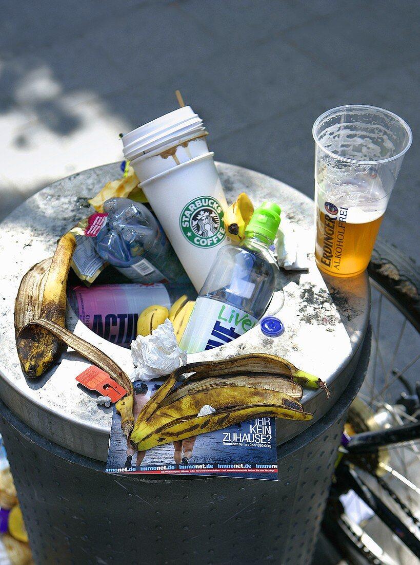 A full litter bin