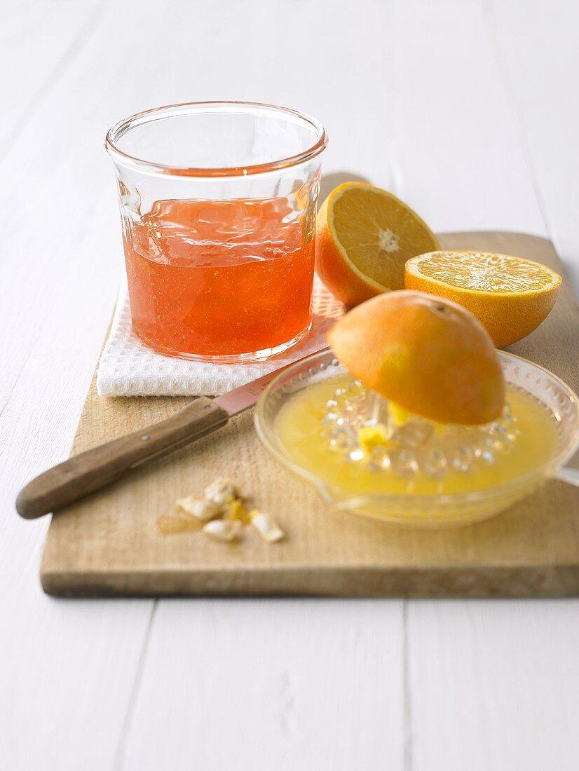 Orange and Campari jelly, citrus squeezer