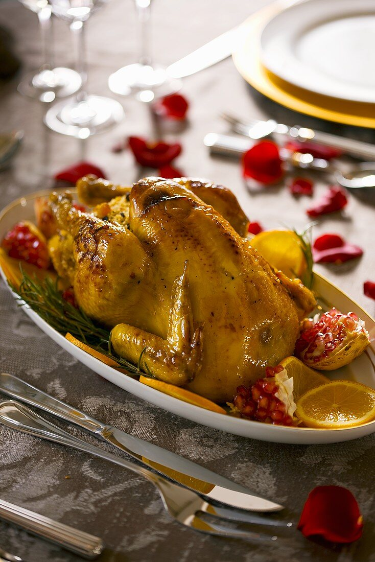 Roast chicken with lemon and pomegranate