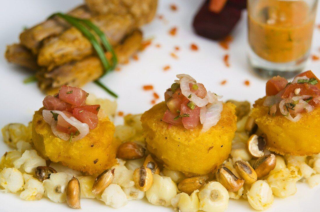 Hornado con llapingachos (Deep-fried pork with potato cakes, Ecuador)