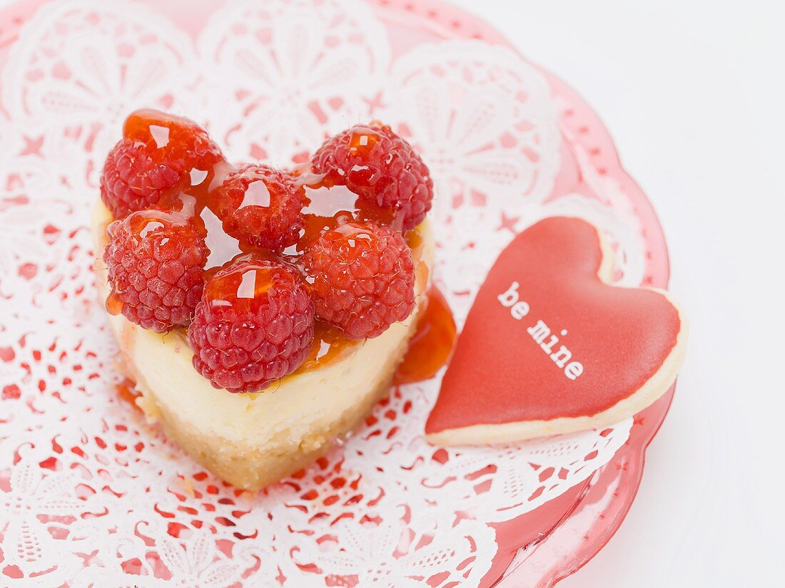 Heart-shaped quark cake with raspberries for Valentine's Day