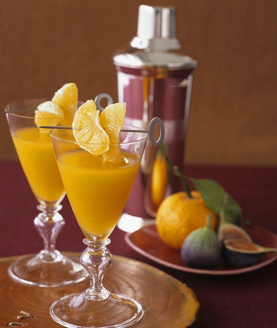 Mandarin orange cocktail in glasses