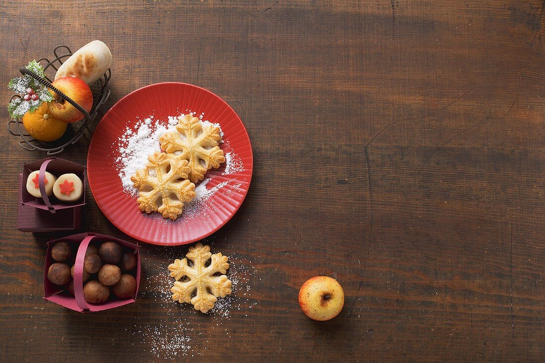 Marzipan fruits, potatoes and biscuits