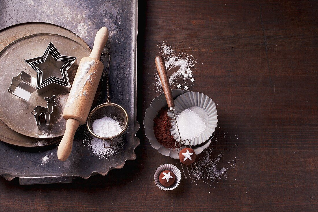 Baking utensils, pralines and a praline fork