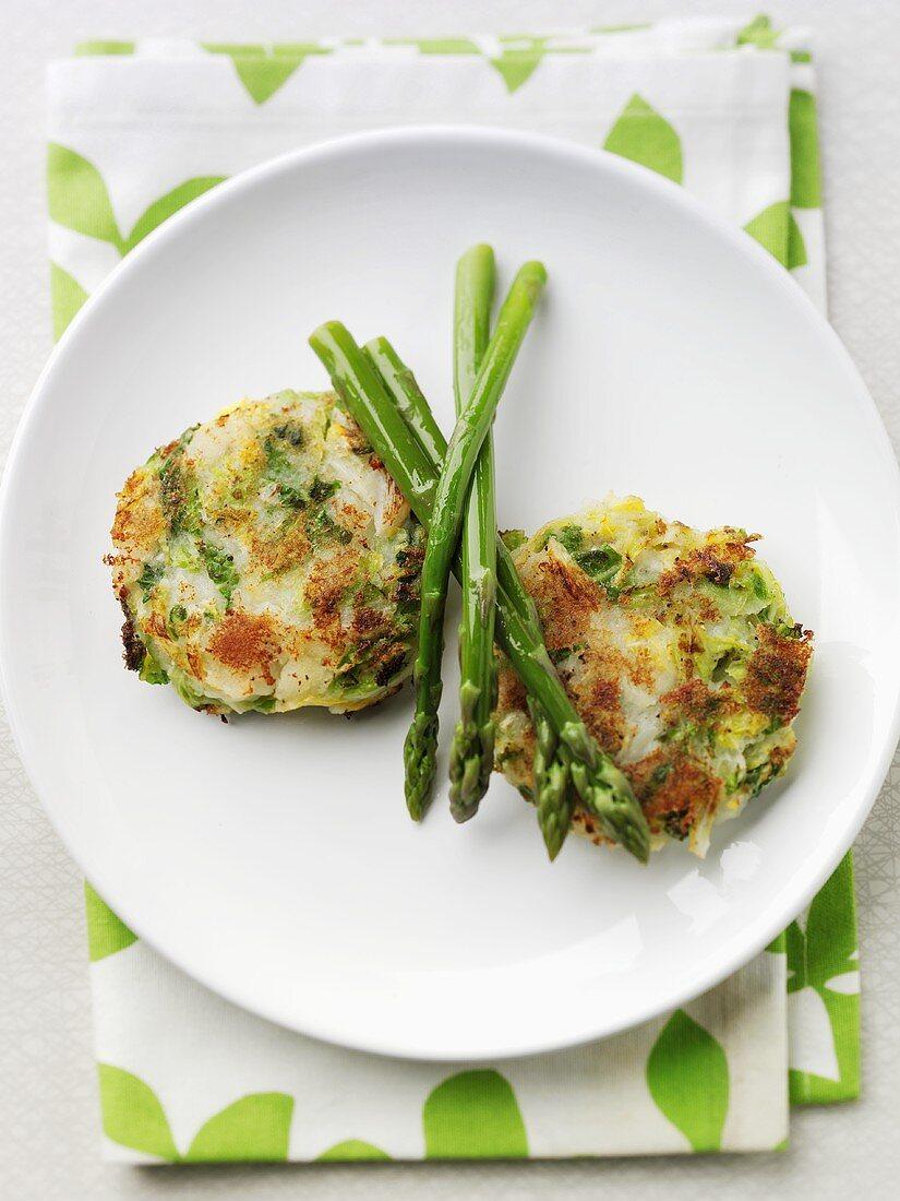 Bubble & Squeak with green asparagus (England)