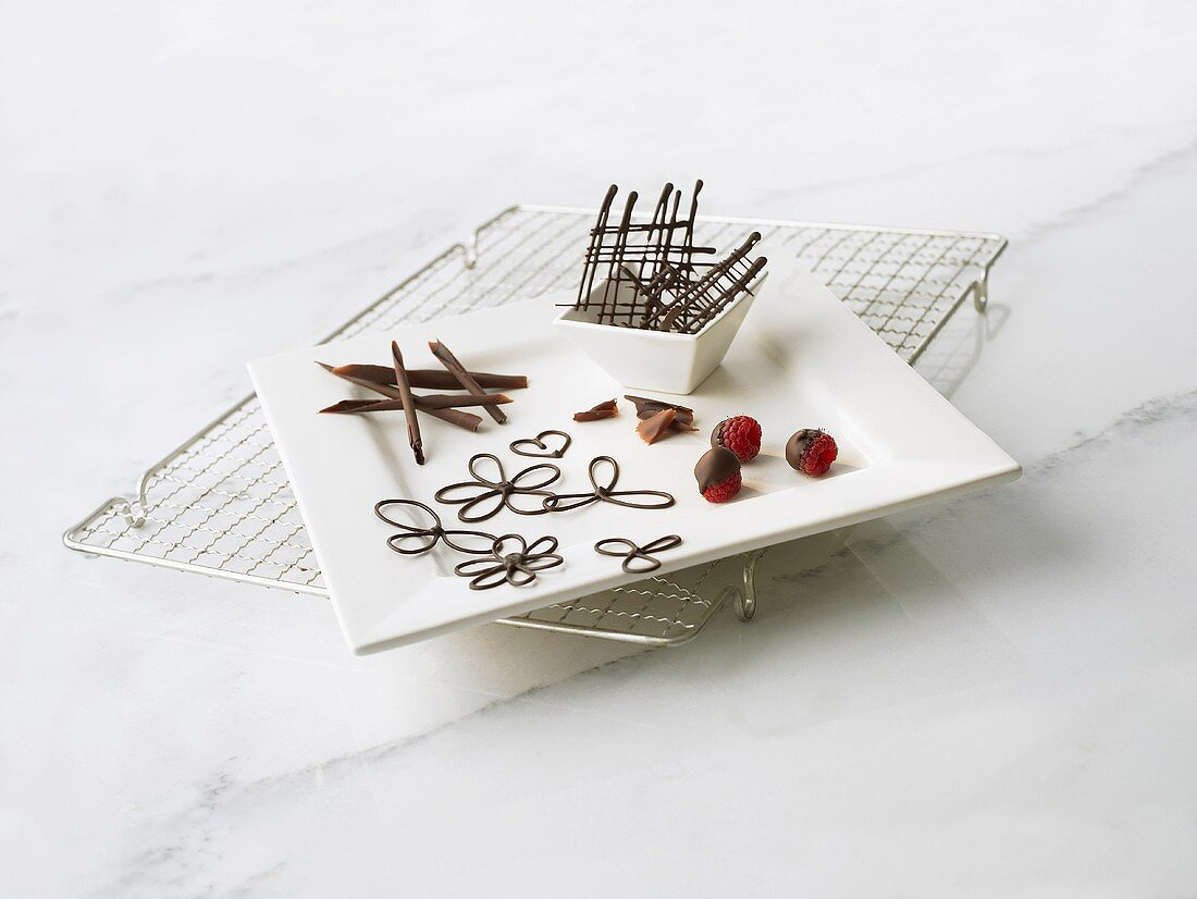 Various types of chocolate decoration