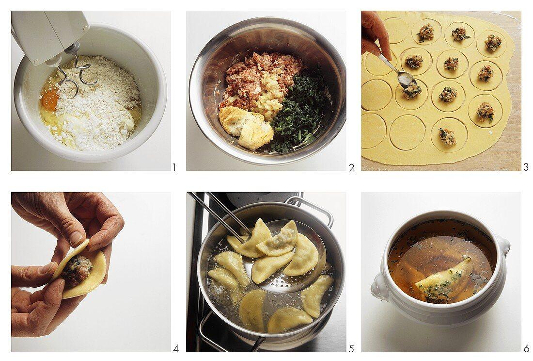 Making Swabian Maultaschensuppe (ravioli soup, Germany)
